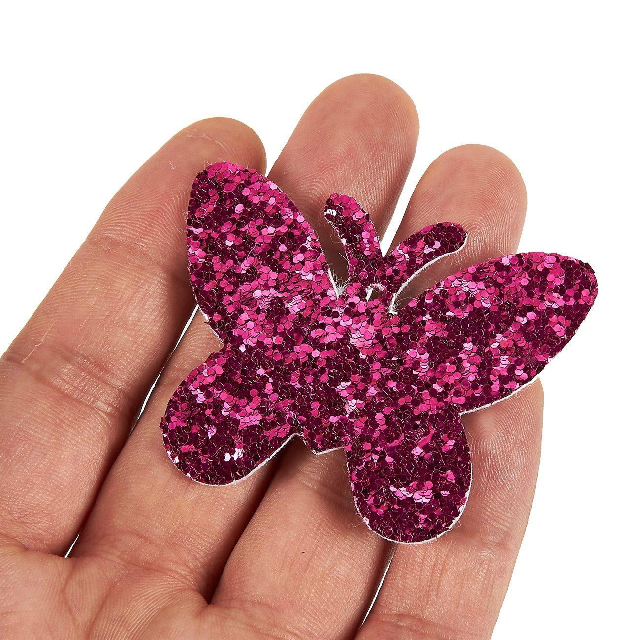 Assorted Shapes Star Felt Flower Butterfly Tiara Felt Shapes 100-Piece Glitter Sequinn Felt Embellishment Cutouts for DIY Art and Craft Decoration Heart