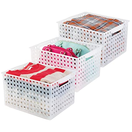 mDesign Juego de 3 cajas para organizar armarios (extragrandes) – Cajas de almacenaje para