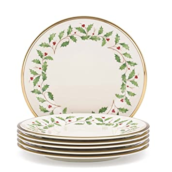 Amazon.com Lenox Holiday Set of 6 Salad Plates Lenox Holiday China Kitchen u0026 Dining  sc 1 st  Amazon.com & Amazon.com: Lenox Holiday Set of 6 Salad Plates: Lenox Holiday China ...
