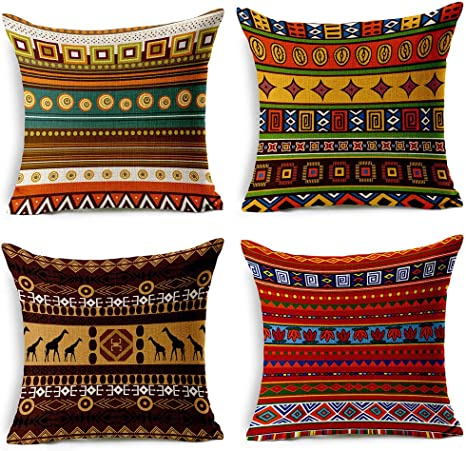 Amazon Com Vogol 4 Pack Cotton Linen Sofa Home Decor Design Throw Pillow Case Cushion Covers Square 18 Inch Set Of 4 Ethnic African Style Series Home Kitchen