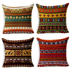 VOGOL 4-Pack Cotton Linen Sofa Home Decor Design Throw Pillow Case Cushion Covers Square 18 Inch, Set of 4 Ethnic African Style Series