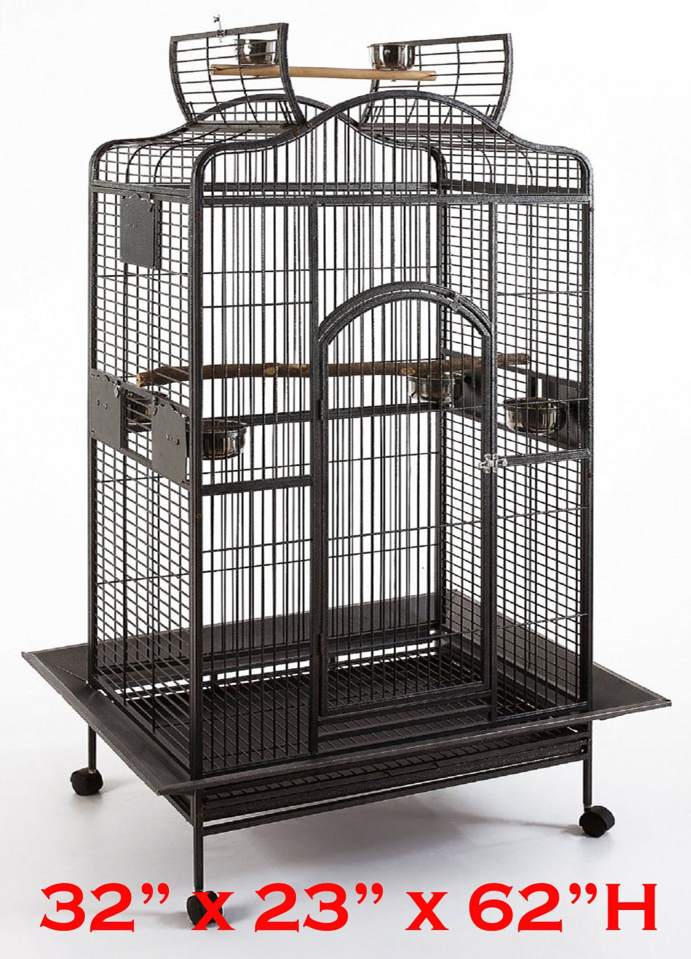 New Large Wrought Iron Open/Close Play Top Bird Parrot Cage, Include Metal Seed Guard Solid Metal Feeder Nest Doors Overall Dimensions: 32'' Wx23 x62 H(with Seed Skirt) (32Wx23Lx61.5H, Black Vein) by Mcage