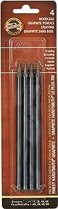 Koh-I-Noor Progresso Woodless Graphite 4-Pencil Set, HB, 2B, 4B, 6B Degrees, 1 Pencil per Degree (FA8911.4BC)
