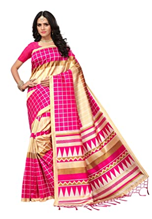 6cd42c29b15 Salwar Studio Women s Pink   Cream Mysore Silk Printed Saree with Blouse  Piece(OM-0034619 Pink Free Size)  Amazon.in  Clothing   Accessories
