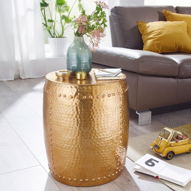 Wohnling Pedro Beistelltisch, Aluminium, Gold, 42x49x42 cm