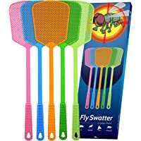 Kensizer 5-Pack Plastic Fly Swatters Heavy Duty, Multi Pack Matamoscas, Jumbo Long Fly Swat Shatter, Large Bug Swatter That Work for Indoor and Outdoor