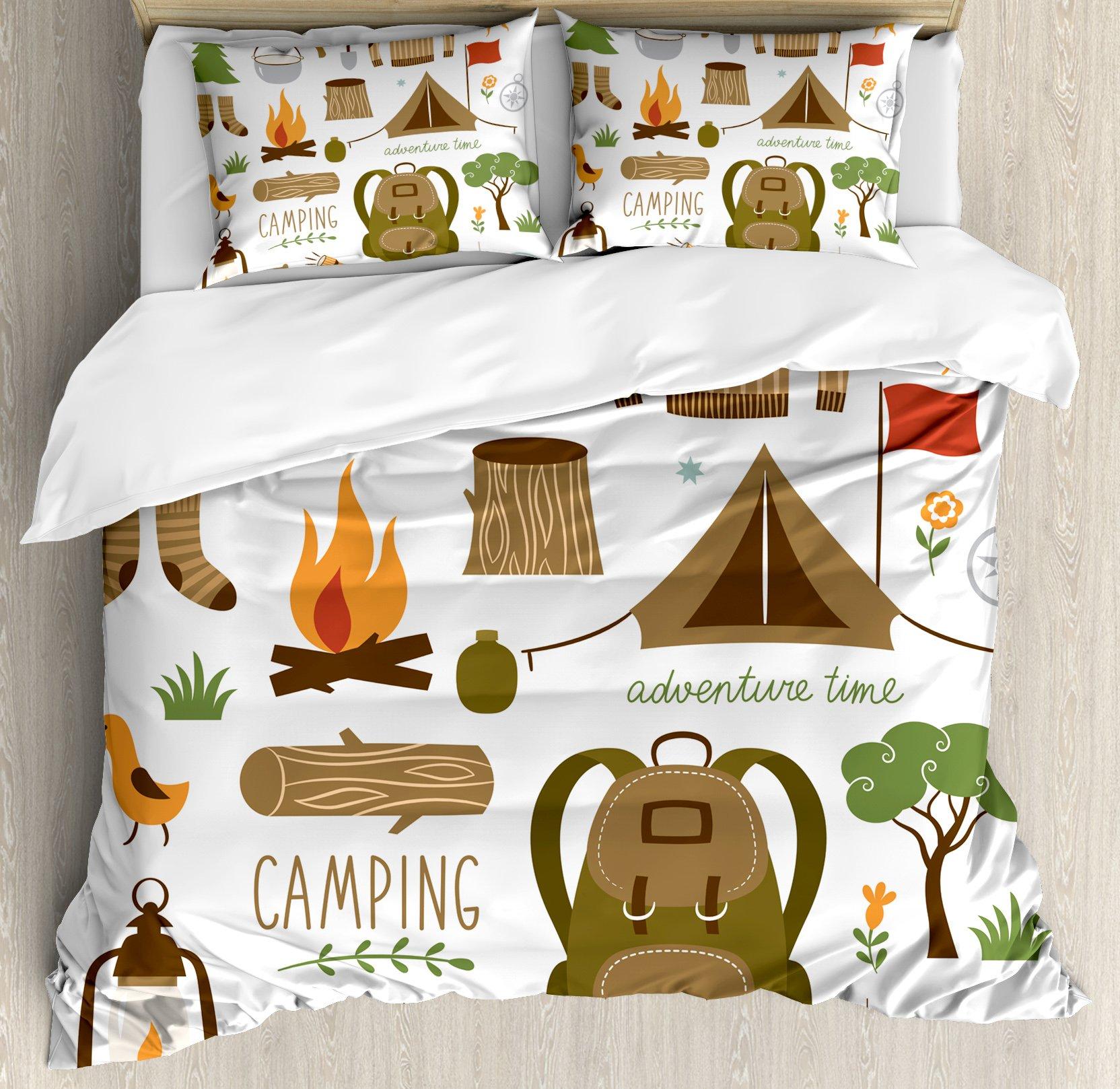 Ambesonne Adventure Duvet Cover Set Queen Size, Camping Equipment Sleeping Bag Boots Campfire Shovel Hatchet Log Artwork Print, Decorative 3 Piece Bedding Set with 2 Pillow Shams, Multicolor