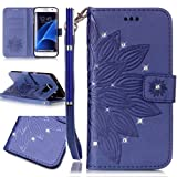 FESELE Samsung Galaxy S7 edge Case Bling Bling Sparkling PU leather Cover with Rhinestone Diamond Design PU Leather Bookstyle Wallet Case Magnetic Closure with Stand Function PU Leather Wallet Flip Cover Sleeve Card Slot and Banknotes Pocket with Hand Strap Lanyard For Samsung Galaxy S7 edge + 1 x Blue Stylus Pen-Flower Mandala,Blue