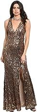 Lady Bling Bling Damen Abendkleid Maxi Etui Bodycon Pailletten Ärmellos V-Ausschnitt Rückenfrei Cut-Out Schlitz Lang