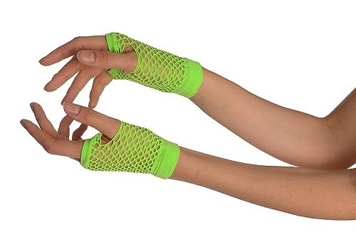 Lime Green Short Fishnet Fingerless Party Gloves - Gloves - Verde Guantes de moda Talla unica
