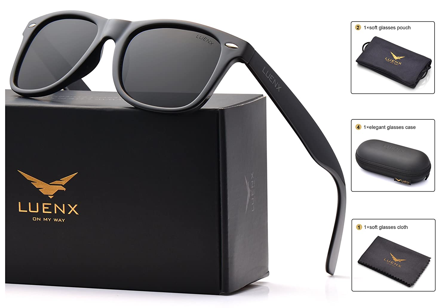 Mens Wayfarer Sunglasses Polarized Womens UV 400 Protection 54MM, by LUENX with Case CA2508-13