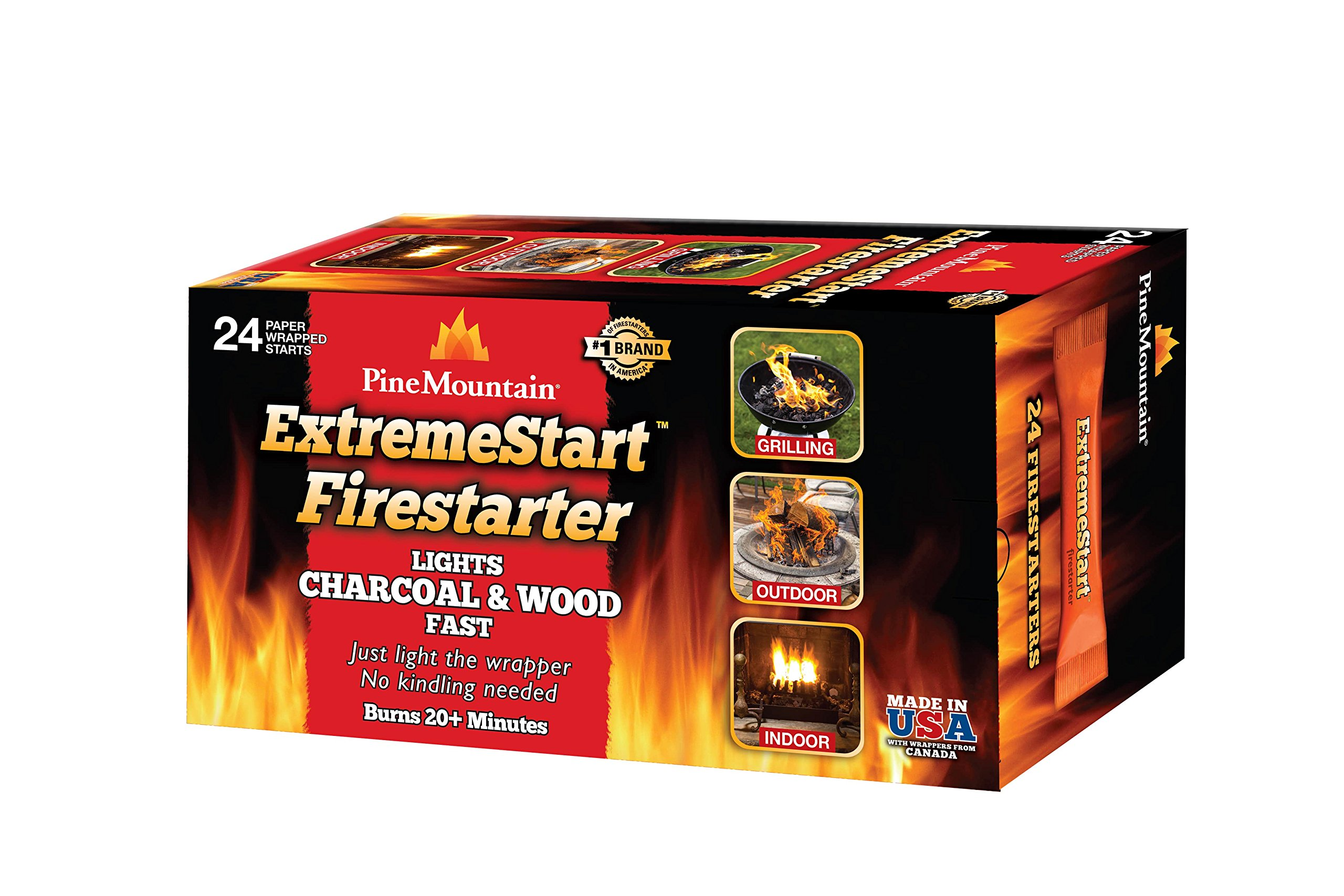 Pine Mountain ExtremeStart Wrapped Fire Starters, 24 Starts Firestarter Wood Fire Log for Campfire, Fireplace, Wood Stove, Fire Pit, Indoor & Outdoor Use by Pine Mountain