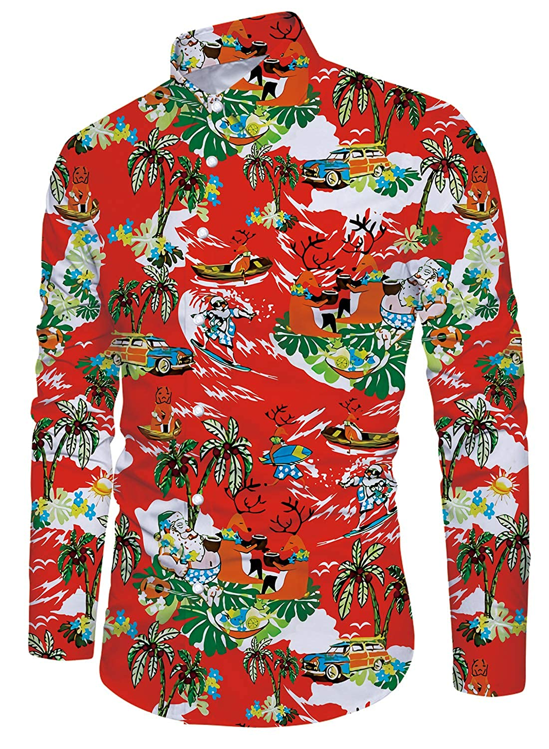 New Fifties Dresses | 50s Inspired Dresses Funnycokid Mens Shirt Printed Long Sleeve Button Down Holiday Style Hawaiian Shirts £24.99 AT vintagedancer.com