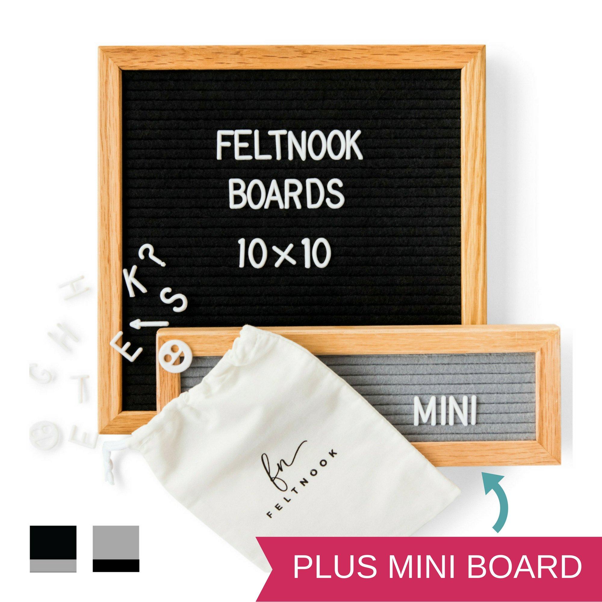 Felt Letter Board with Letters - Plus Mini Letterboard Included - Oak Wooden Frame Boards