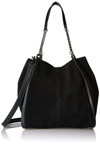The Fix Joni Deconstructed Suede Tote with Chain Shoulder Strap