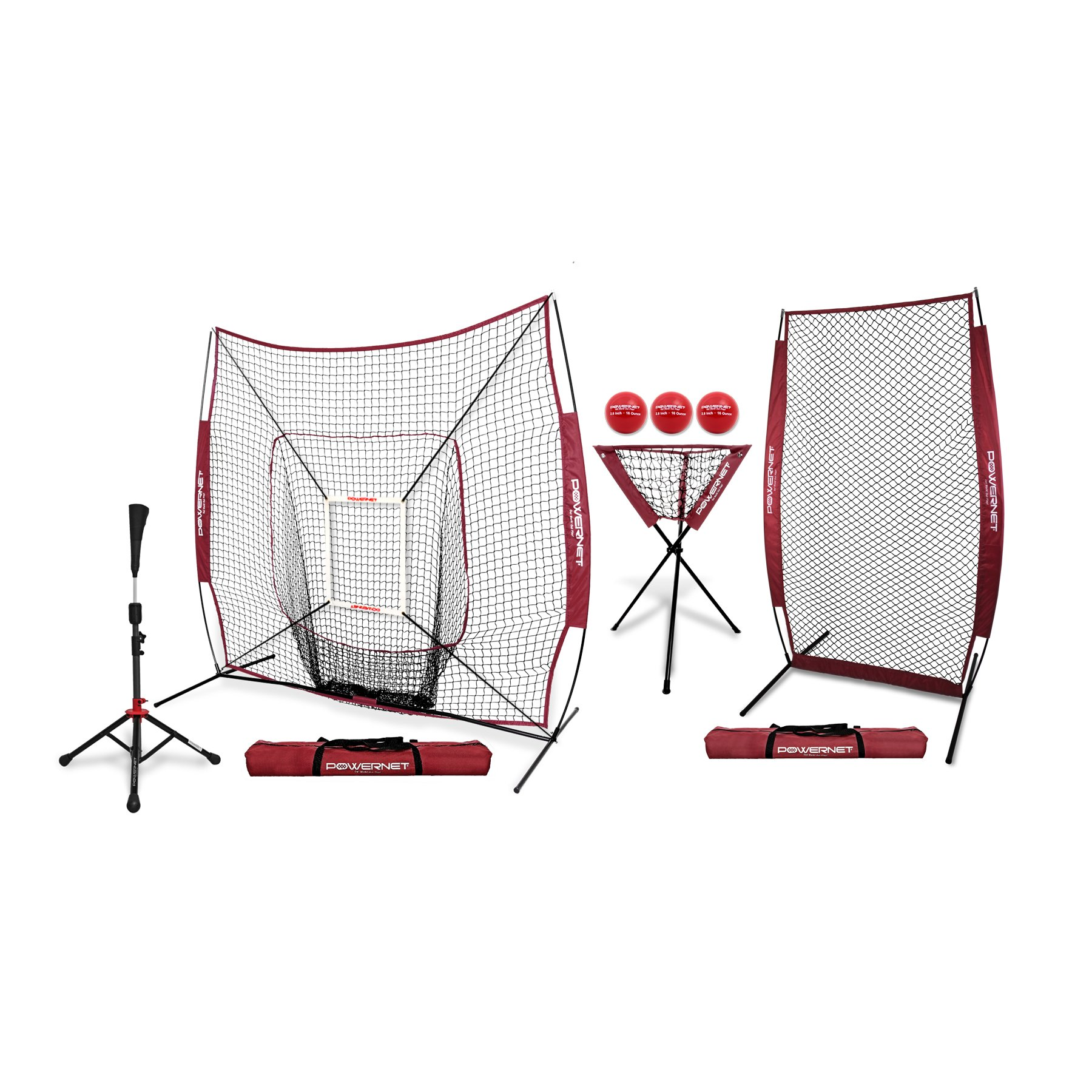 PowerNet [ALL IN ONE COACH BUNDLE (Maroon) 7x7 DLX Practice Net + I-Screen + Deluxe Tee + Ball Caddy + 3 Pack Weighted Training Ball + Strike Zone Bundle | Baseball Softball Pitching Batting by PowerNet
