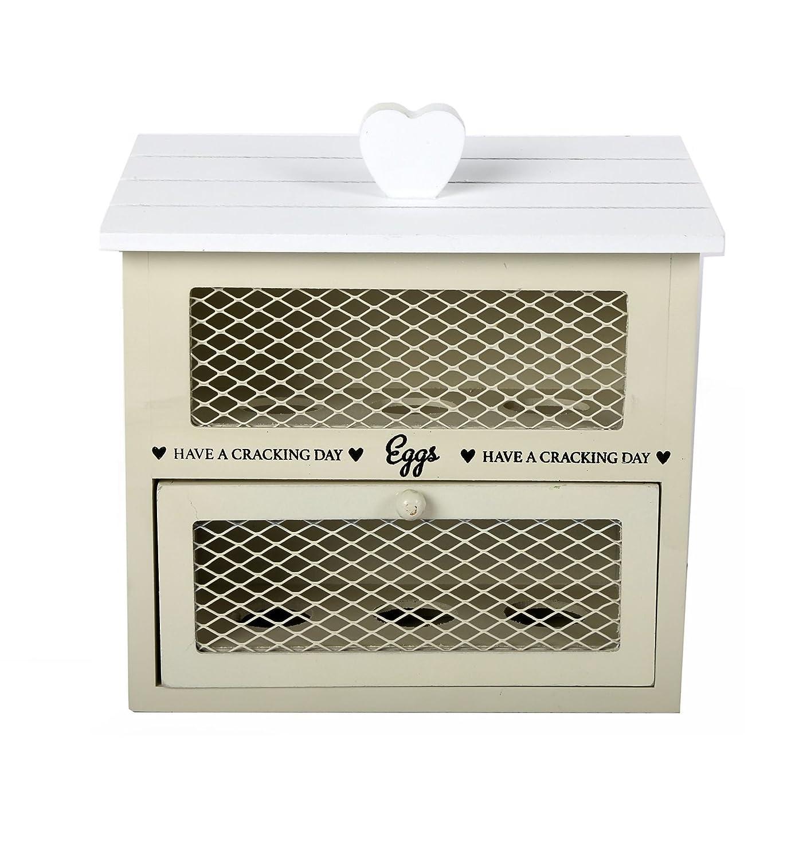 de color crema hecha de madera estilo chic Caja de almacenaje de cocina para huevos