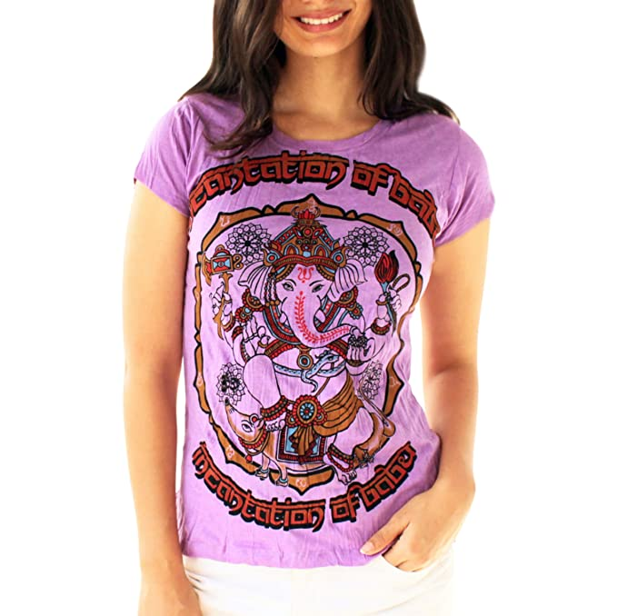 Yoga Tees - Omtimistic Mujer Casual Ganesh Graphic T-Shirt ...