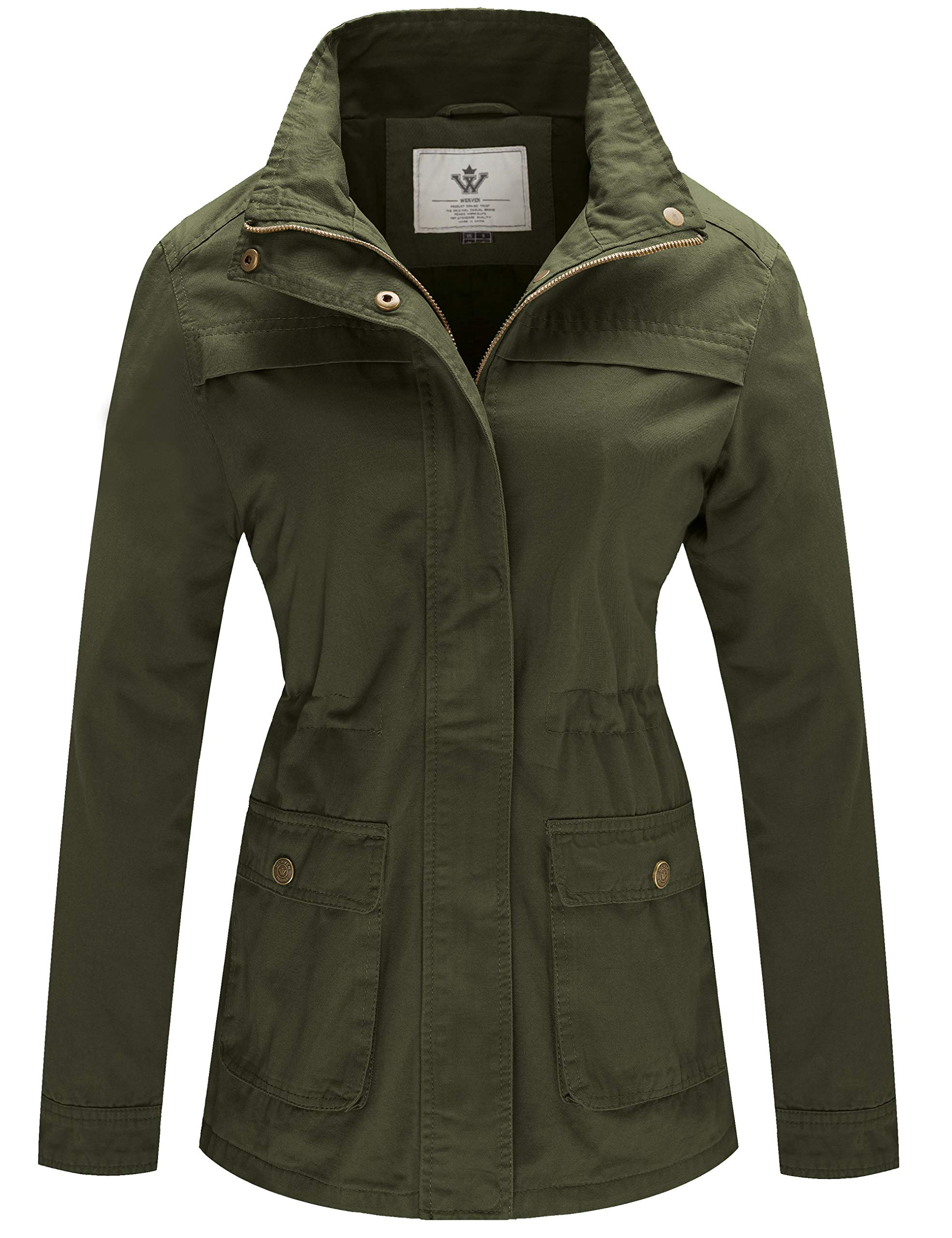 WenVen Women's Stand Collar Slim Cotton Fall Jacket(Army Green, M) by WenVen