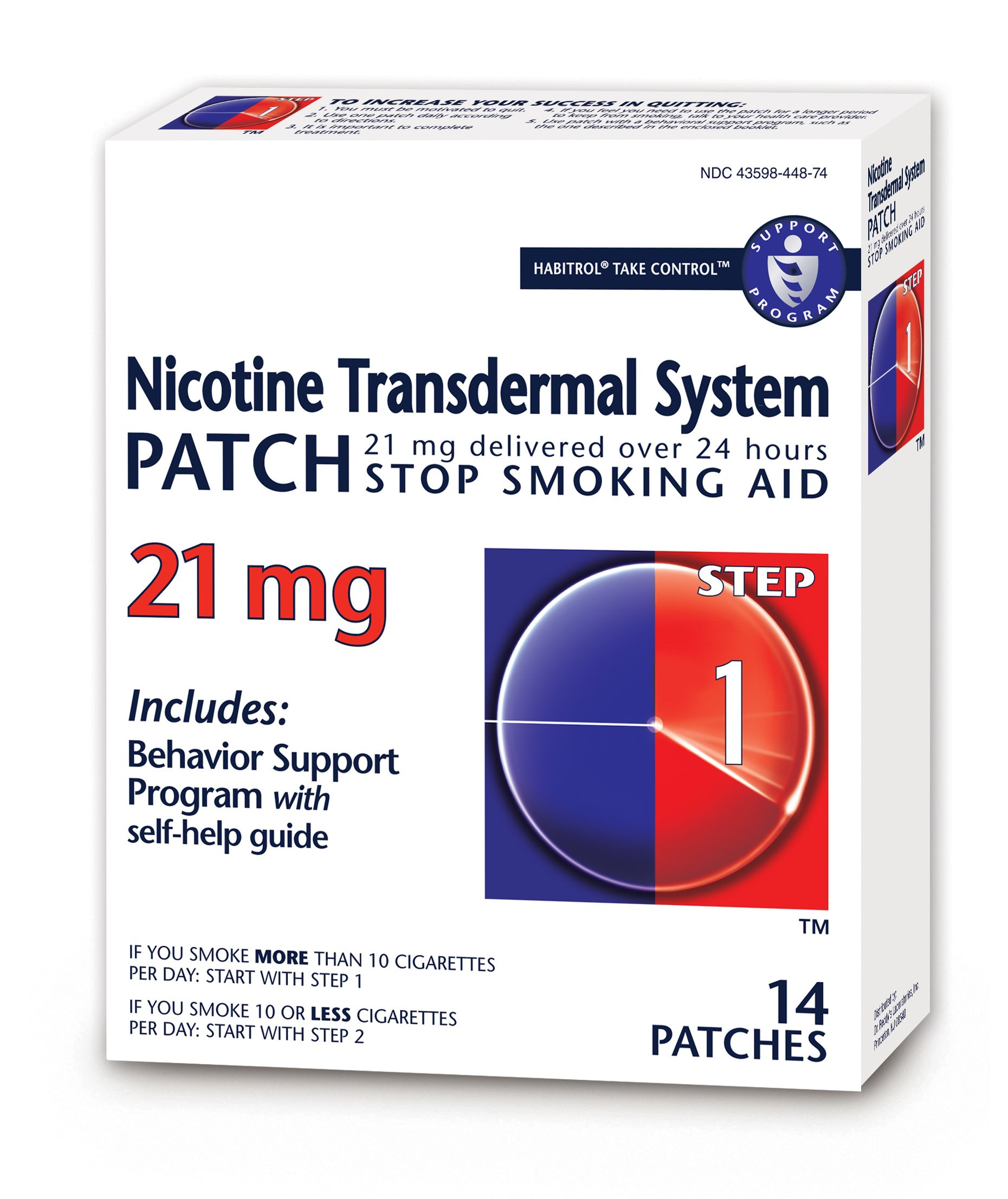 Habitrol Nicotine Transdermal System Patch | Stop Smoking Aid | Step 1 (21 mg) | 14 Patches (2 Week Kit)