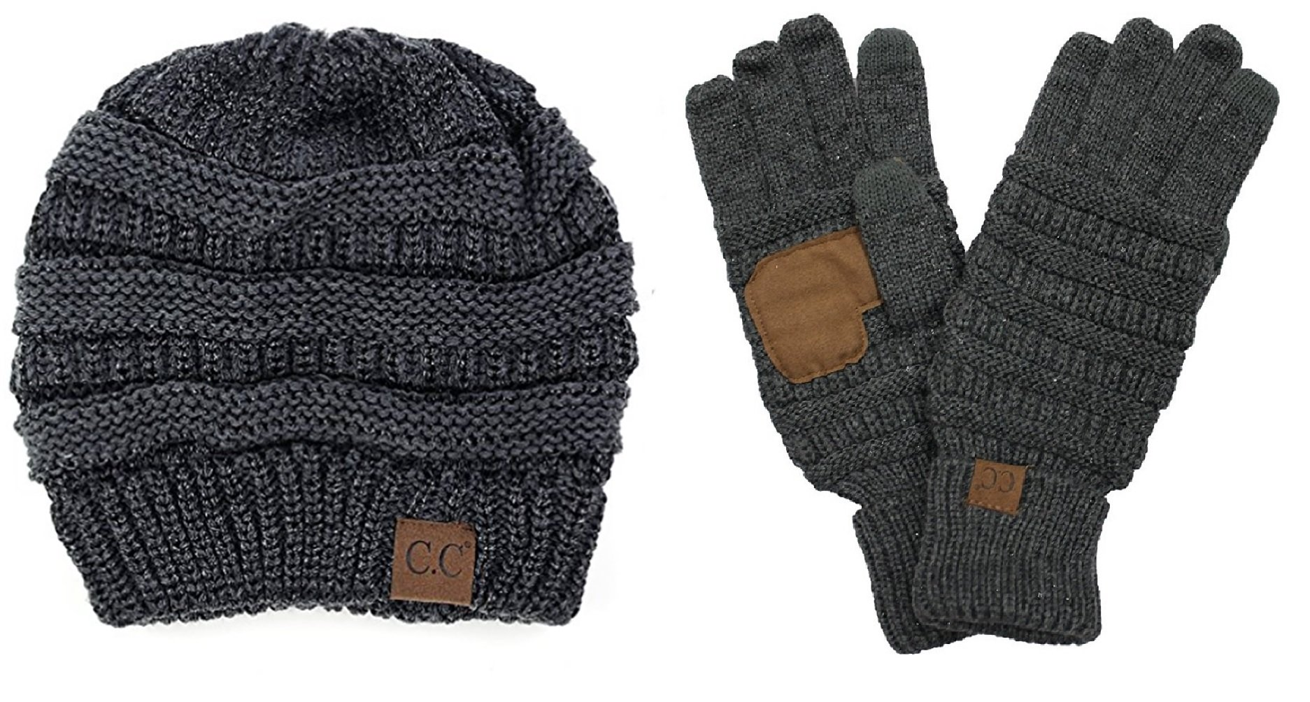 BYSUMMER C.C. Warm Winter Cable Knit Slouchy Beanie and Smart Touch Texting Gloves Bundle Set (Metalic Dark Melange Grey)