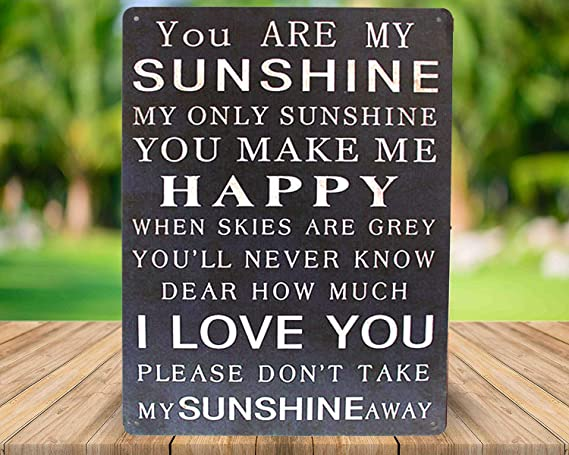 Vintage Art Poster Plaque Living Room Bedroom Home Wall Decor Funny Metal Tin Sign SUMIK You are My Sunshine You Make Me Happy I Love You
