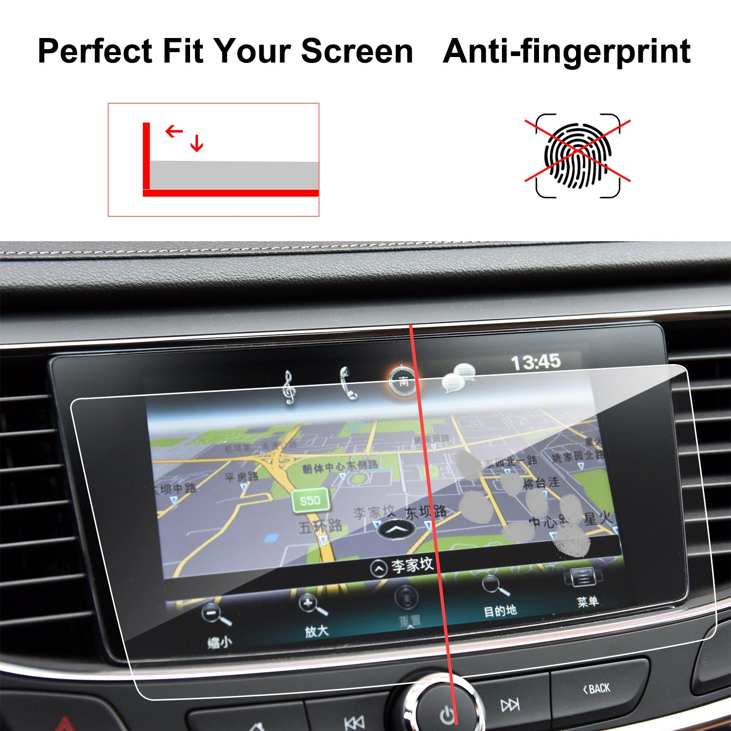 9H Infotainment Screen Center Touchscreen Protector Anti Scratch High Clarity LiFan Buick LaCrosse 8tixing LFOTPP 2017-2018 Buick LaCrosse 8-Inch TRAPEZOID Tempered Glass Car Navigation Screen Protector,