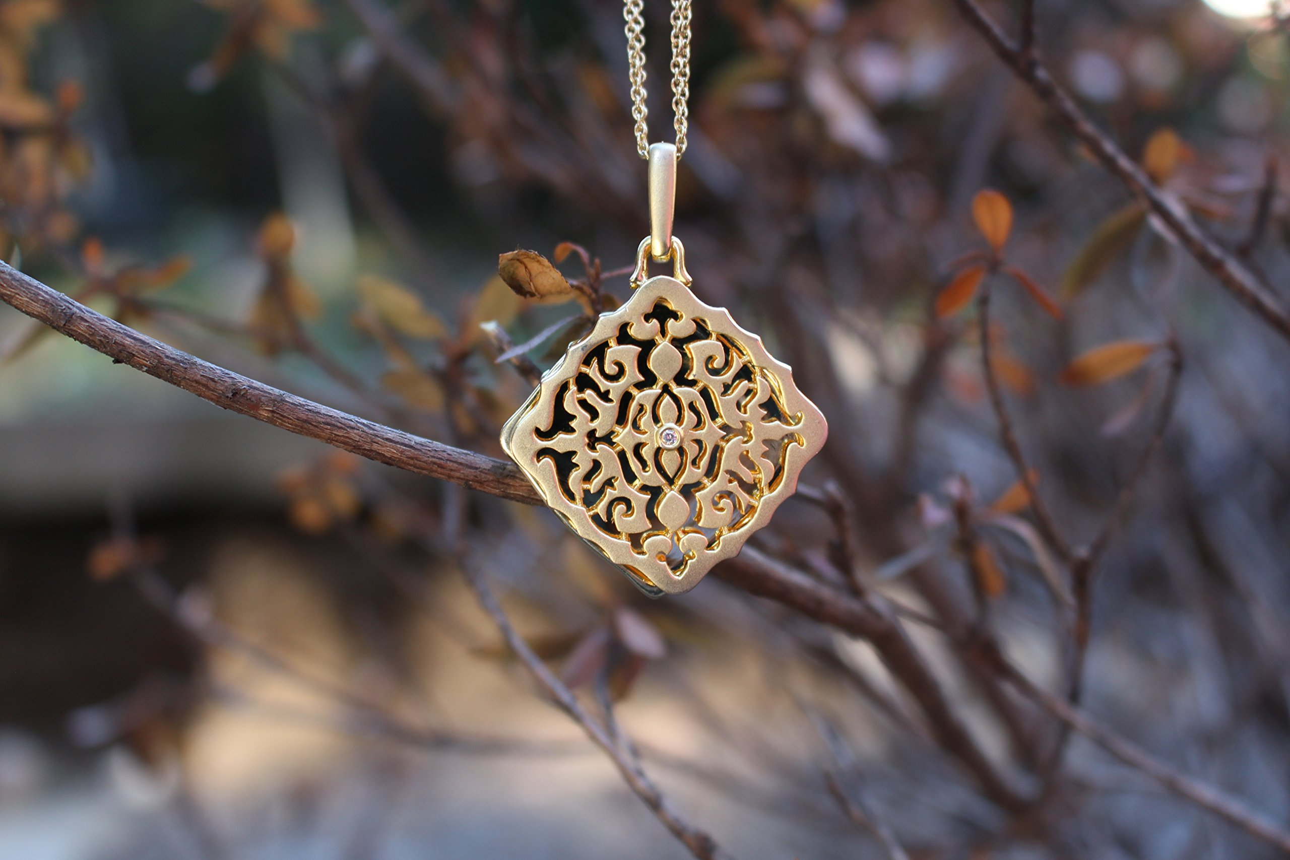 With You Lockets Yellow Gold-Diamond-Square-Custom Photo Locket Necklace-22-inch chain-The Mimi by by With You Lockets (Image #7)