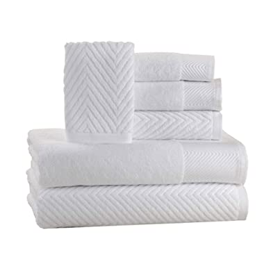 ISABELLA CROMWELL 6 Piece Cotton Bath Towels Set - 2 Bath Towels, 2 Hand Towels, 2 Washcloths Machine Washable Super Absorbent Hotel Spa Quality Luxury Towel Gift Sets Chevron Towel Set - White