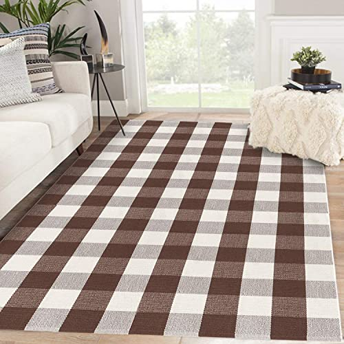 Buffalo Plaid Checkered Rug 47 x 71 , KIMODE Brown White Farmhouse Cotton Woven Floor Mats, Washable Collection Area Rug for Living Room Bedroom Dining Room