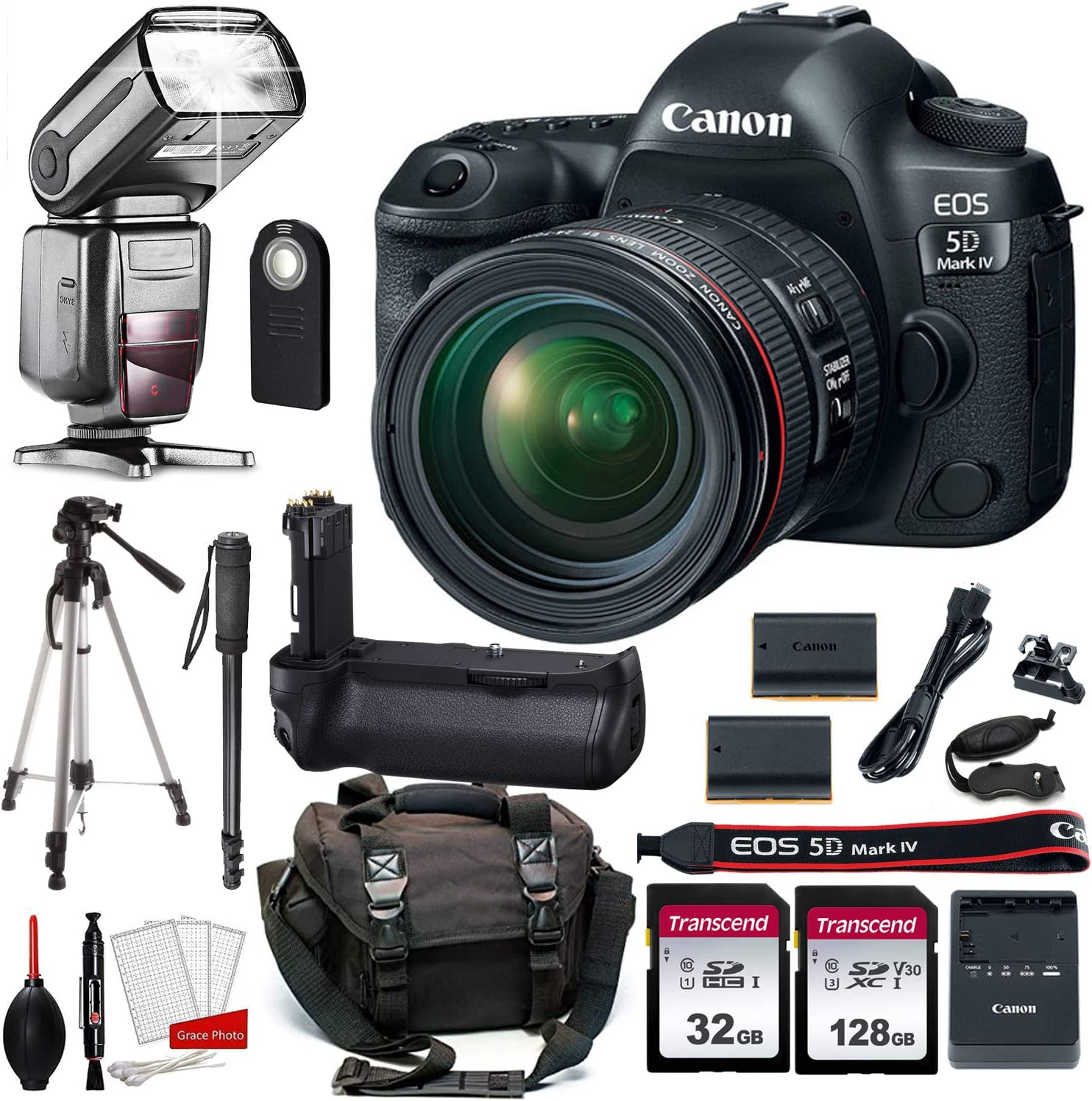 Canon EOS 5D Mark IV DSLR Camera with 24-70mm f/4L Lens + Prime Accessory Bundle (20 Items)