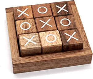 Tic Tac Toe for Kids and Adults Coffee Table Living Room Decor and Desk Decor Family Games Night Classic Board Games Wood Rustic for Families Size 4 Inch