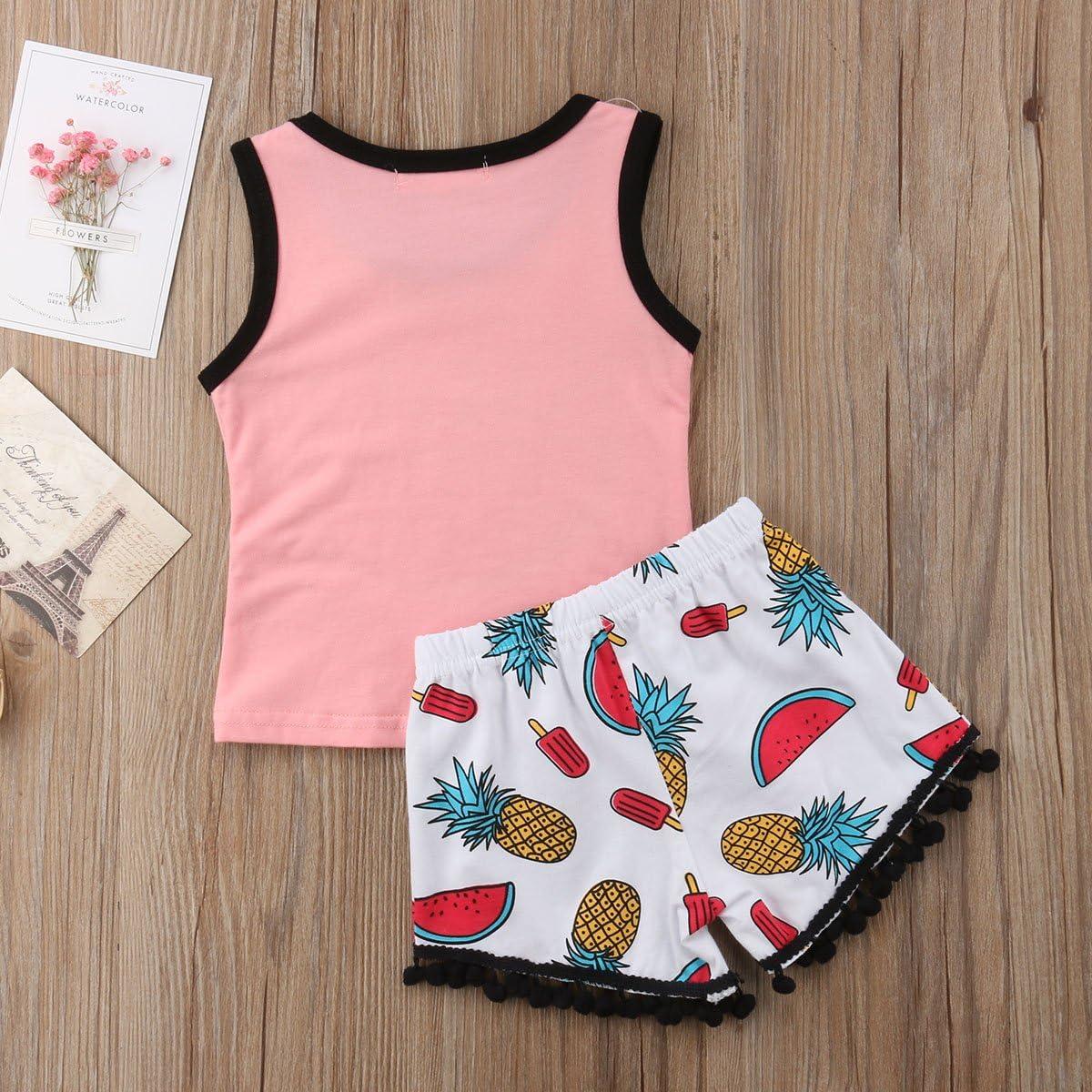 YAZAD Toddler Baby Kid Girls Watermelon Pattern Tops T-Shirt Sleeveless Cute Shorts Tassel Pants Summer Clothes