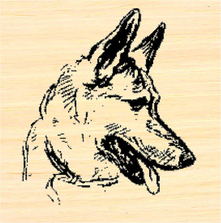 German Shepherd Dog Rubber Stamp WM P37