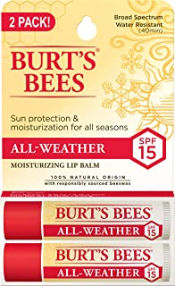 product image for Burt's Bees 100% Natural All-Weather SPF15 Moisturizing Lip Balm, Water Resistant - 2 Tubes
