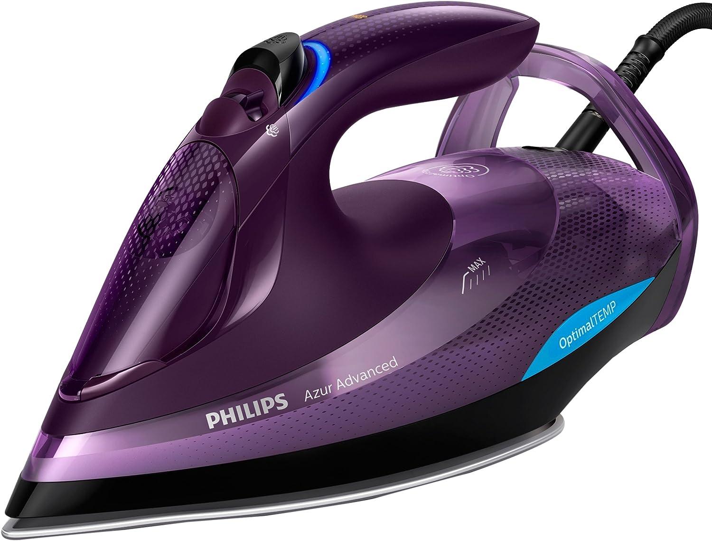 Philips Azur Advanced GC4934/30 - Plancha Ropa Vapor sin quemaduras ni necesidad de realizar ajustes de la temperatura, 3000 W, Golpe Vapor 230g, Vapor Continuo 55g, Suela Steam Glide Plus