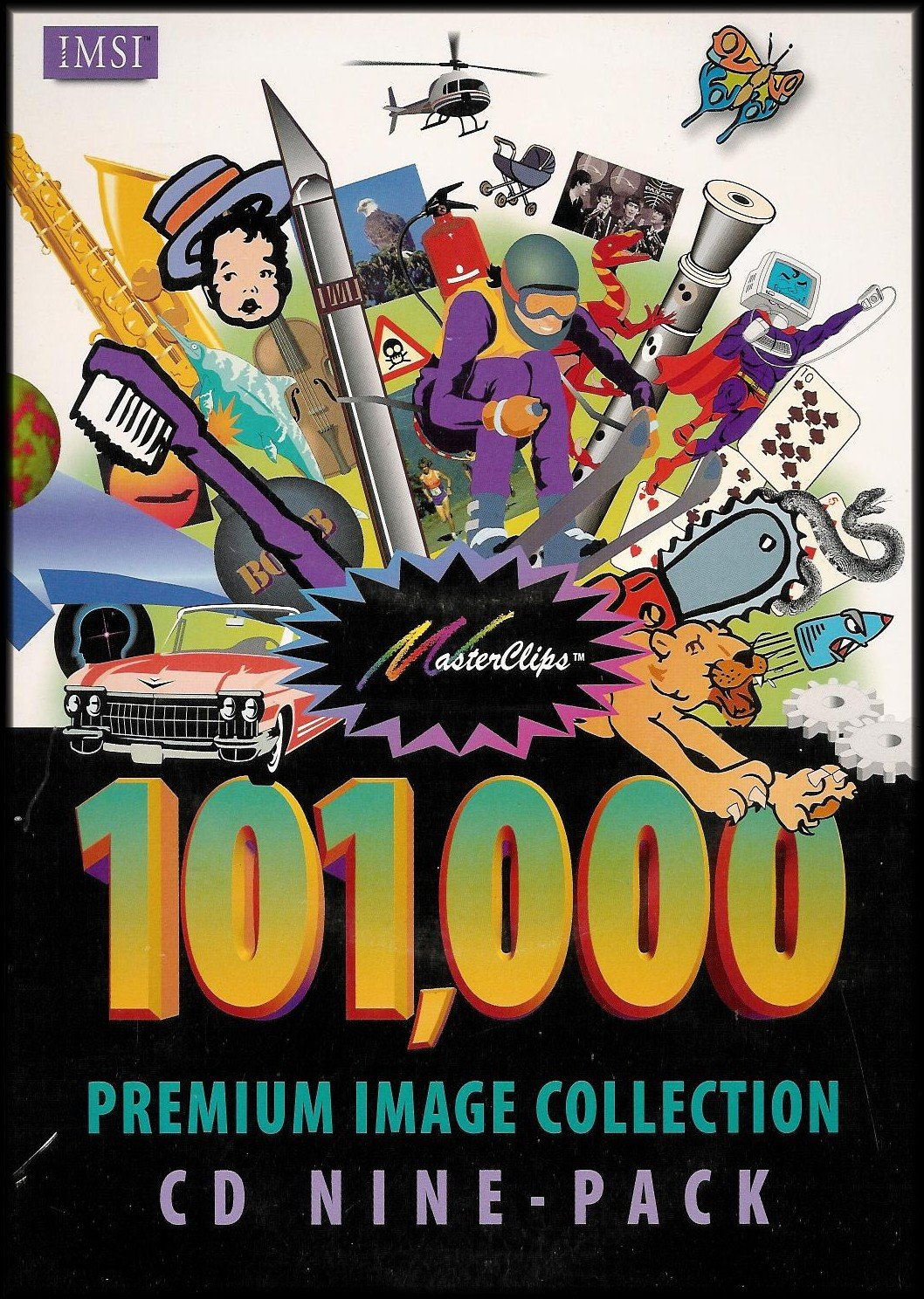 Masterclips 101,000 Premium Image Collection CD 9 Pack (Clip Art, True Type Fonts, Color Photos, Web Images, Sound Clips, Animation and Video Clips, and More!) by IMSI