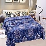 "JML Lightweight Plush Soft Warm Blue Floral Printed Pattern Flannel Fleece Bed Throw Blanket, King Size 79"" x 91"""