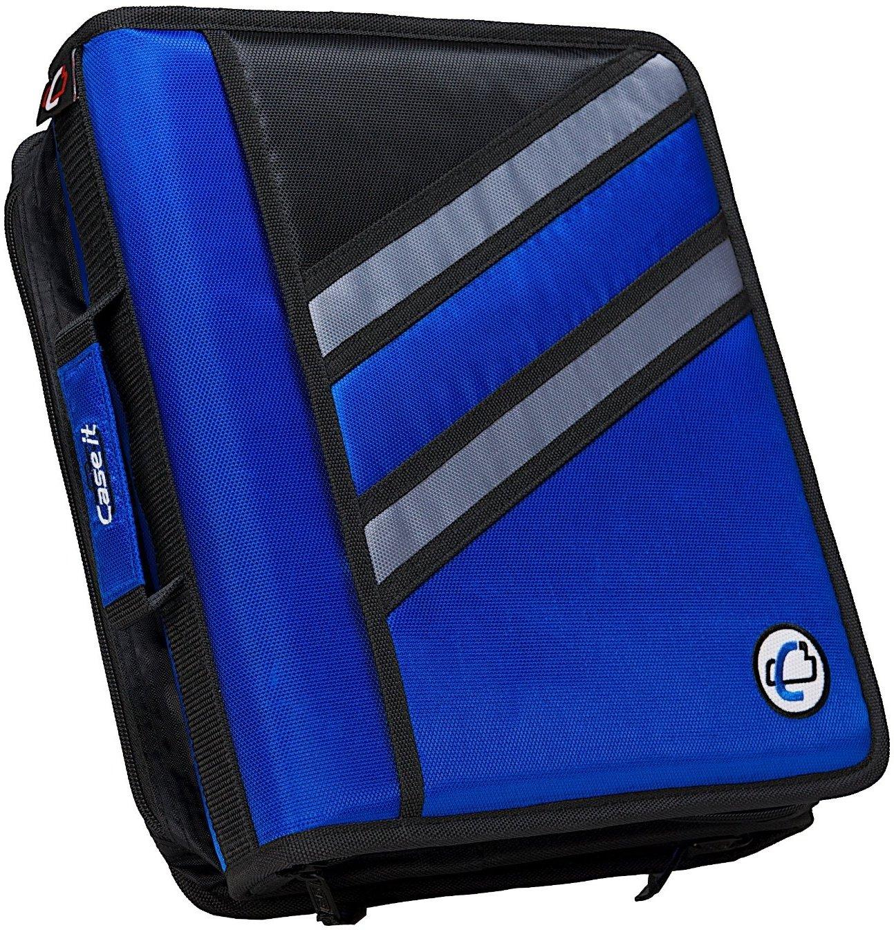 Case-it Z-Binder Two-in-One 1.5-Inch D-Ring Zipper Binder, Blue (Z-176-BLU)