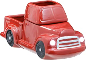 JULIE ANN HOME Ceramic Candle Wax Warmer, Vintage Red Truck with Safety Timer | Automatic Plug in Fragrance Warmer for Scented Wax Melts, Cubes, Tarts | Retro Farmhouse Holiday Air Freshener Set