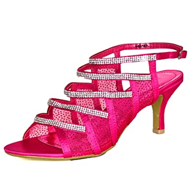 da22a88985a Ladies Fuchsia Pink Diamante Strappy Shoes Mid Low Heel Sandals Satin  Evening Slingback Size