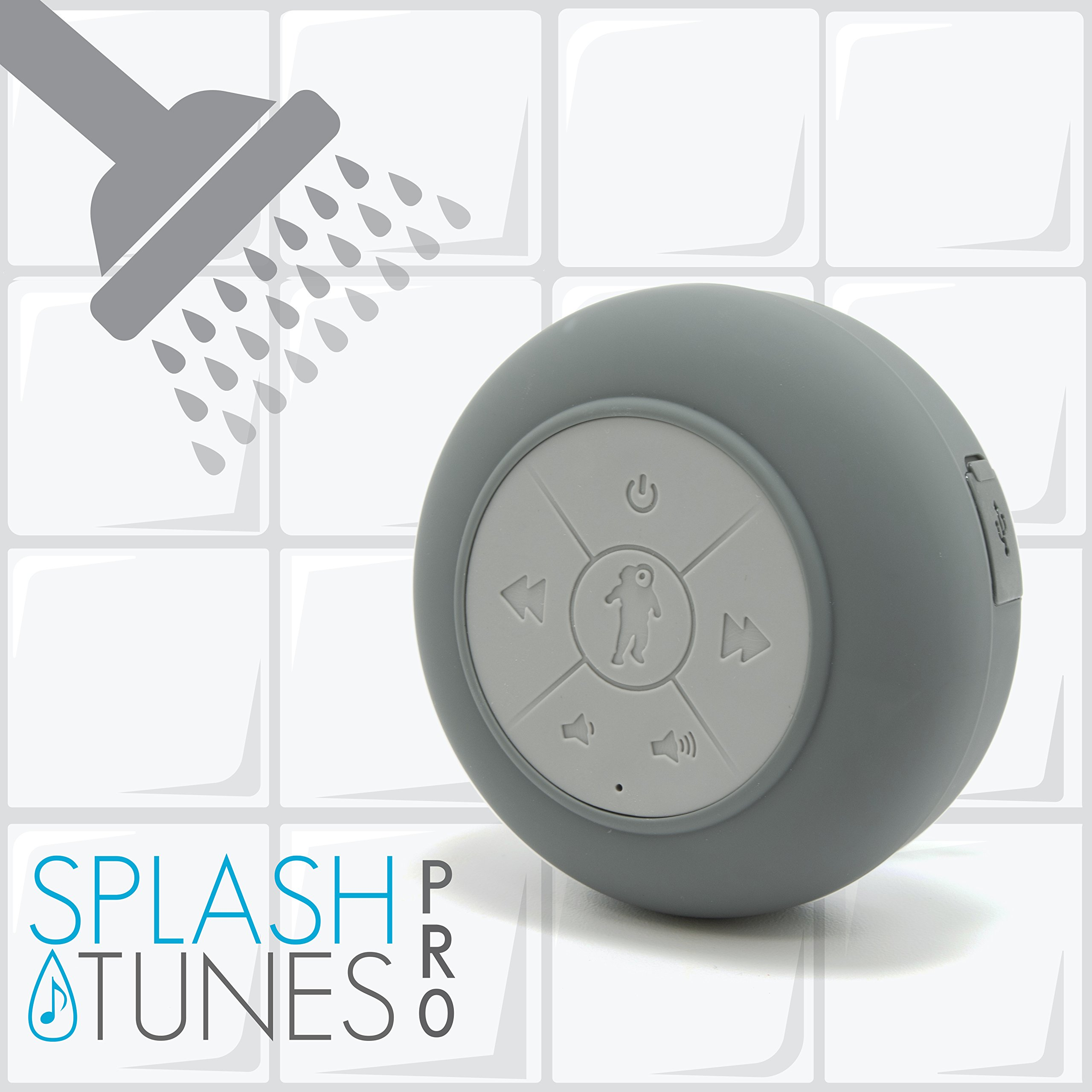 FRESHeTECH Waterproof Bluetooth Shower Speaker Splash Tunes - Portable, Hands Free, Wireless, Water Resistant, Shower Speaker with Built-in Mic and Suction Cup