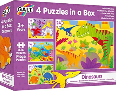 Galt 1004735 Four Puzzles in a Box - Dinosaurs
