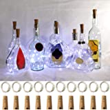 Wine Bottle Lights with Cork, FRIEET 10 Pack Starry Fairy Lights Battery Operated, Cork Shape Silver Copper Wire String…