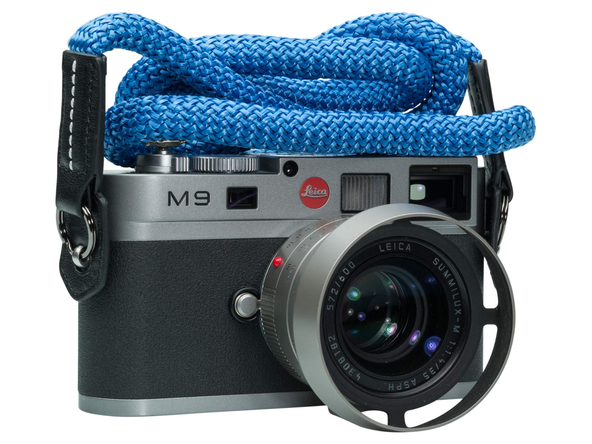 Vi Vante Luxury Sheetline Aqua Blue Rope Camera Strap with Napa Leather Ends and Electroplated Mounting Rings