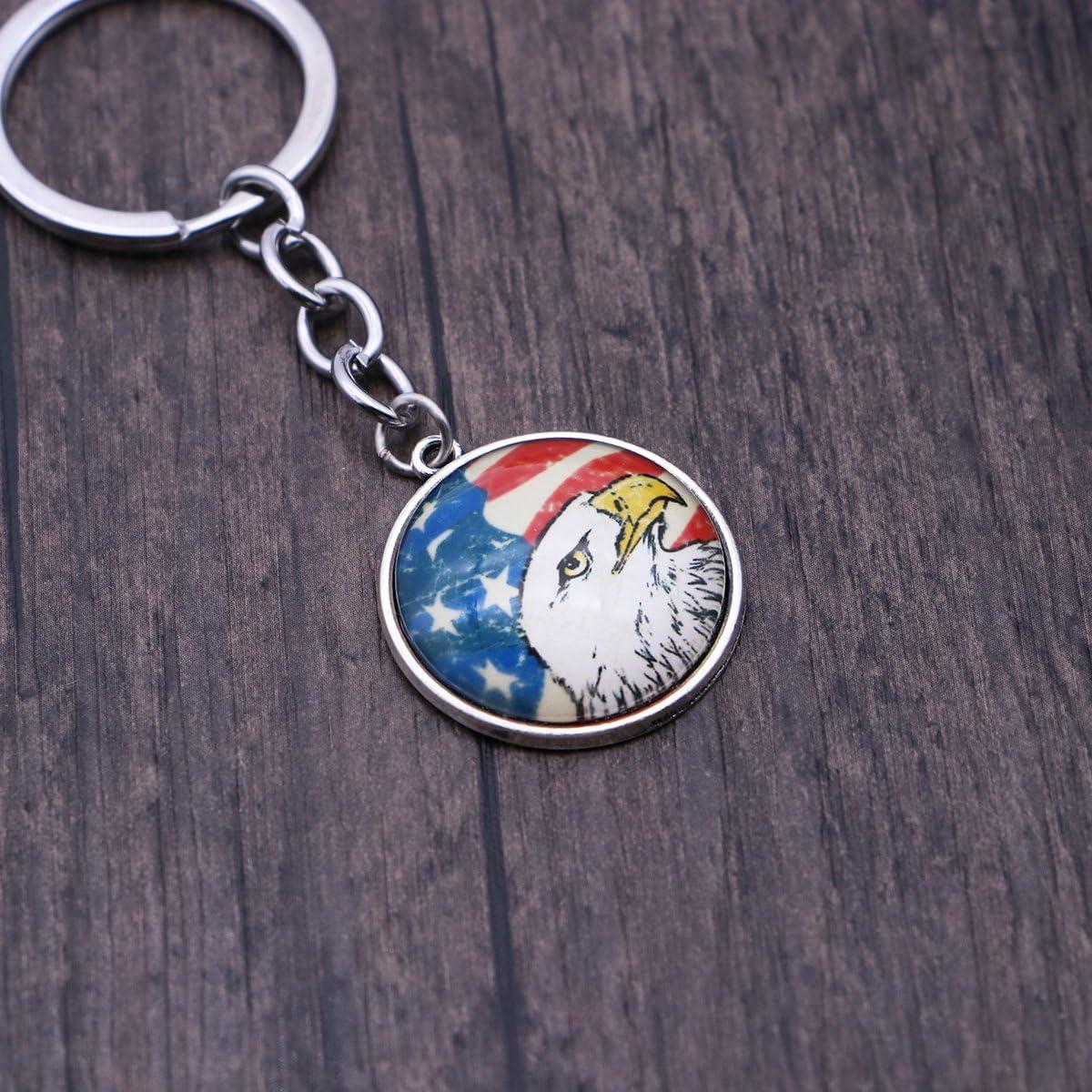 Silver LUOEM 10pcs Pygargue /à t/ête blanche porte-cl/és porte-cl/és drapeau am/éricain Art Antique Charm USA drapeau porte-cl/és bijoux Vintage cadeau pour le 4 juillet Veterans Day