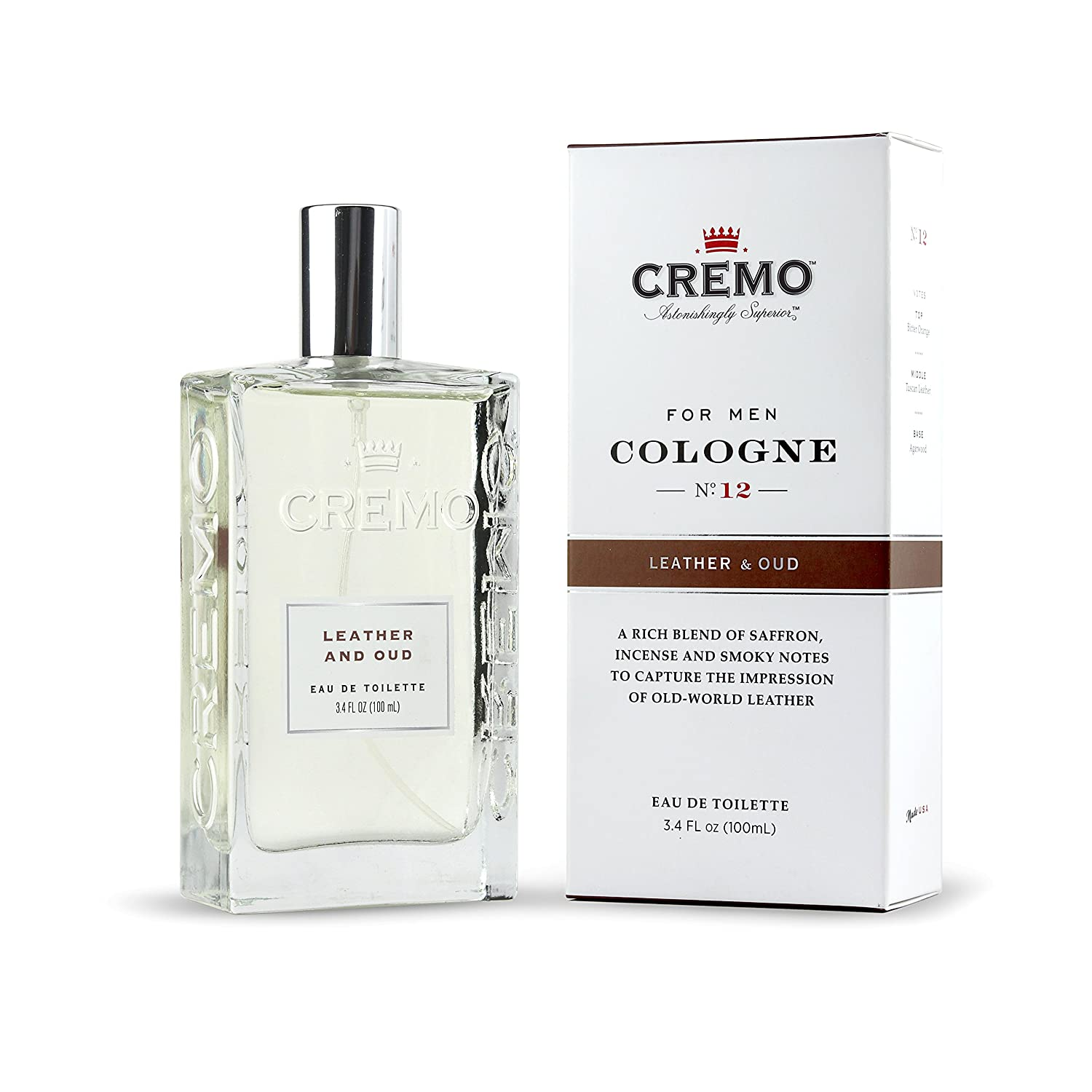 Cremo Cologne Spray, Leather Oud, 3.4 Ounce