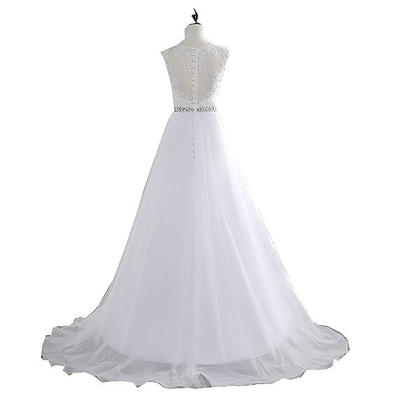 Cheap A-Line Lace Appliques Wedding Dress 2017 Vintage Plus Size Vestido de Novia with Beading Button Sash Sexy Robe De Mariage at Amazon Womens Clothing ...