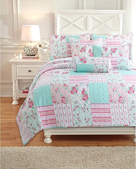 58 x 48 Bright Pink Blue Green Cotton Quilt Twin Throw Blanket for Home Girls Child Room