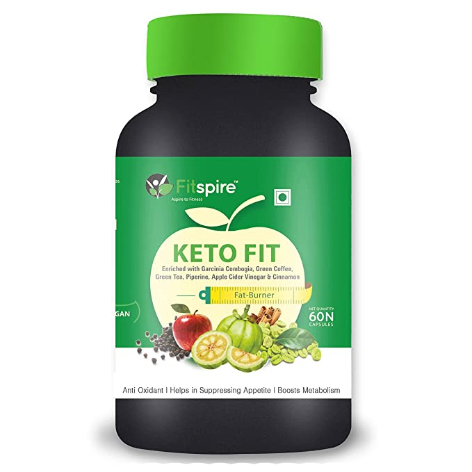 Fitspire Keto Fit Organic Weight Loss Capsules | Green Tea + Garcinia Cambogia + Green Coffee + Piperine + Apple Cider Vinegar + Cinnamon) | Suppress Appetite & Reduce Cravings | 60 Capsules
